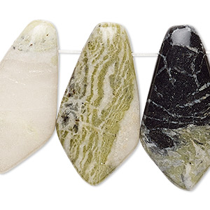 focal, green earth jasper (natural), 31x14mm-35x19mm flat kite with flat back, c grade, mohs hardness 2-1/2 to 6. sold per pkg of 4.