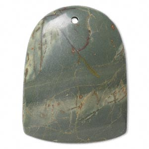 focal, green jasper (natural), 46x36mm shield with flat back, b- grade, mohs hardness 6-1/2 to 7. sold individually.