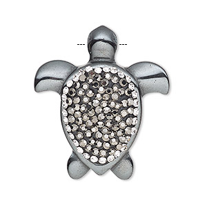 focal, hemalyke™ (man-made), / glass / epoxy / silver-finished brass, black and clear, 33x29mm single-sided turtle. sold individually.
