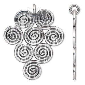 focal, hill tribes, antique silver-plated copper, 41x35mm swirl design. sold individually.