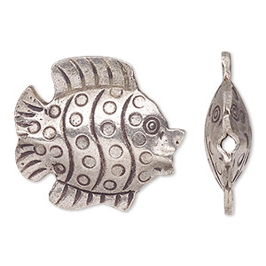focal, hill tribes, antiqued fine silver, 28x26mm double-sided fish. sold individually.