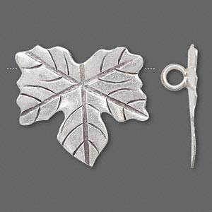 focal, hill tribes, antiqued fine silver, 30x28mm maple leaf. sold individually.