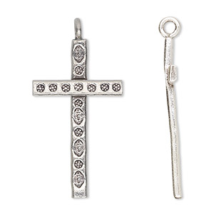 focal, hill tribes, antiqued fine silver, 32x16mm cross. sold individually.