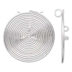focal, hill tribes, fine silver, 36mm round spiral with 3 loops. sold individually.