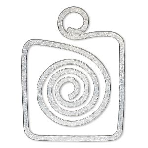 focal, hill tribes, silver-plated brass, 32x32mm square with cutout and spiral design. sold individually.