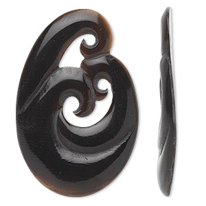 focal, horn (natural), black, 38x27mm oval swirl. sold individually.