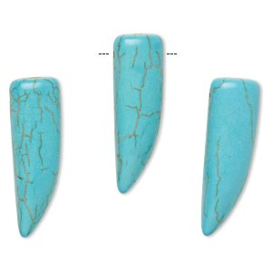 focal, howlite (imitation), aqua blue, 30x10mm talon. sold per pkg of 3.
