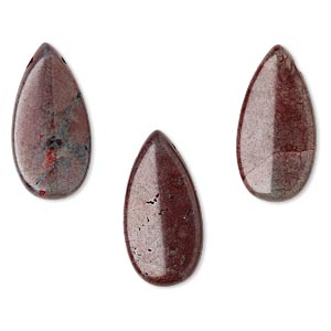focal, howlite (imitation), burgundy, 30x15mm teardrop. sold per pkg of 3.