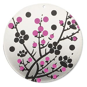 focal, imitation rhodium-finished carbon steel, black and pink, 40mm single-sided round with cherry blossom design. sold per pkg of 2.