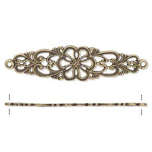 focal, jbb findings, antiqued brass, 38.5x11mm single-sided filigree flower with 2 loops. sold individually.