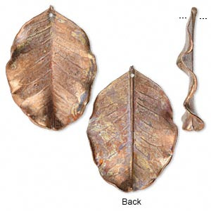 focal, jbb findings, copper, 32x27mm-50x34mm holy land carob leaf. sold individually.