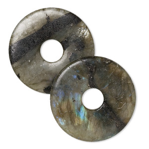 focal, labradorite (natural), 40mm round donut, c grade, mohs hardness 6 to 6-1/2. sold per pkg of 2.