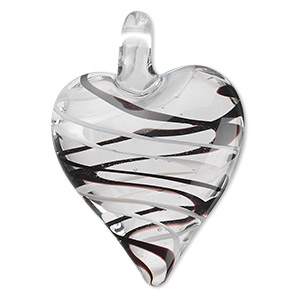 focal, lampworked glass, black and white, 44x30mm double-sided heart with spiral design. sold individually.
