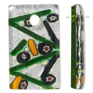 focal, lampworked glass, green with multicolored millefiori and silver-colored foil, 50x30mm rectangle. sold individually.