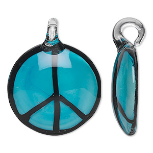 focal, lampworked glass, turquoise blue and black, 38mm single-sided round peace sign. sold individually.