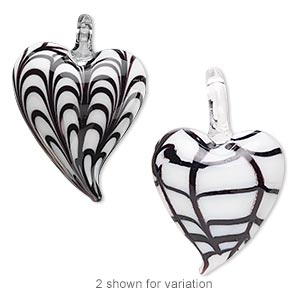 focal, lampworked glass, white and black, 45x30mm double-sided heart with fancy curved line design. sold individually.