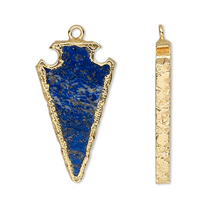 focal, lapis lazuli (natural) / electroplated gold / gold-finished sterling silver, 30x15mm hand-cut arrowhead. sold per pkg of 2.