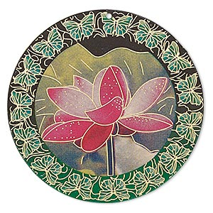focal, lazer lace™, color film and gold-finished brass, multicolored, 47mm single-sided round with lotus flower and butterfly design. sold per pkg of 2.