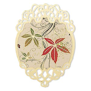 focal, lazer lace™, color film and gold-finished brass, multicolored, 50x35mm single-sided fancy oval with leaf and swirl design with cutouts. sold per pkg of 2.