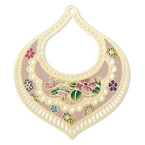 focal, lazer lace™, color film and gold-finished brass, multicolored, 55x47mm single-sided fancy teardrop with cutouts and floral design. sold per pkg of 2.