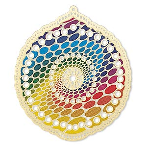 focal, lazer lace™, color film and gold-finished brass, rainbow, 52x47mm single-sided scalloped round with cutouts and oval spiral design. sold per pkg of 20.