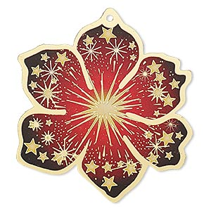 focal, lazer lace™, color film and gold-finished brass, red / yellow / black, 49x46mm single-sided flower with cutouts and star design. sold per pkg of 2.