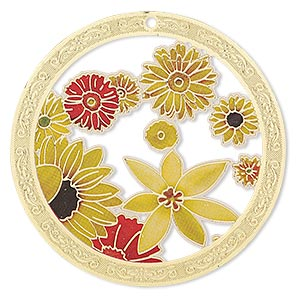 focal, lazer lace™, color film and gold-finished brass, yellow / red / black, 45mm single-sided round with cutouts and floral design. sold per pkg of 2.