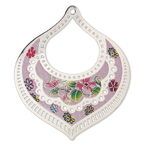 focal, lazer lace™, color film and silver-finished brass, multicolored, 55x47mm single-sided fancy flat teardrop with cutouts and floral design. sold per pkg of 2.