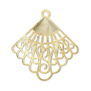 focal, lazer lace™, gold-finished brass, 32x31mm fancy fan. sold per pkg of 10.