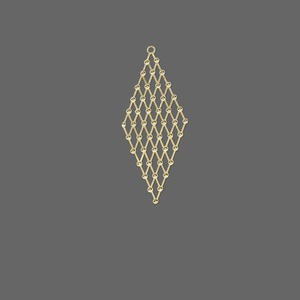 focal, lazer lace™, gold-finished brass, 43x18mm multi-diamond. sold per pkg of 20.