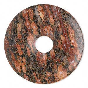 focal, leopardskin jasper (natural), 40mm round donut, b grade, mohs hardness 6-1/2 to 7. sold per pkg of 2.