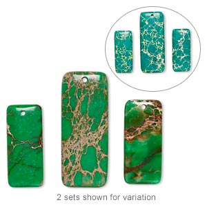 focal, magnesite (dyed / stabilized), green, 50x20mm and 36x16mm hand-cut top-drilled puffed rectangle, b grade, mohs hardness 3-1/2 to 4. sold per pkg of 3.