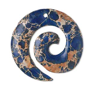 focal, magnesite (dyed / stabilized), lapis blue, 35mm hand-cut top-drilled round spiral, b grade, mohs hardness 3-1/2 to 4. sold individually.
