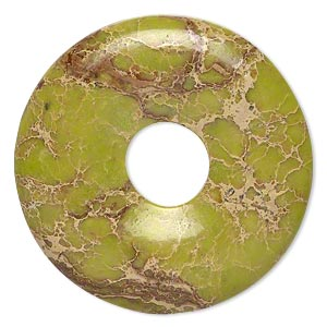 focal, magnesite (dyed / stabilized), lime green, 40mm hand-cut round donut, b grade, mohs hardness 3-1/2 to 4. sold individually.