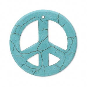 focal, magnesite (dyed / stabilized), turquoise blue, 33-40mm peace sign, b grade, mohs hardness 3-1/2 to 4. sold per pkg of 5.