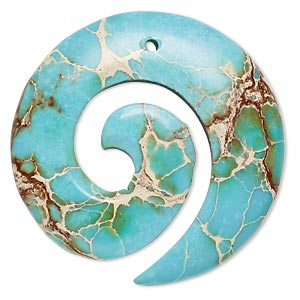 focal, magnesite (dyed / stabilized), turquoise blue, 35mm hand-cut round spiral, b grade, mohs hardness 3-1/2 to 4. sold individually.