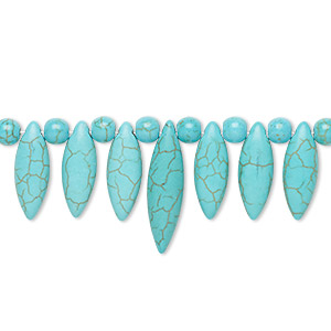 focal, magnesite (dyed / stabilized), turquoise blue, 6mm round / 23x8mm / 30x8mm marquise fan, b grade, mohs hardness 3-1/2 to 4. sold per 15-piece set.