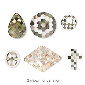 focal mix, black lip shell / gold lip shell / mother-of-pearl (assembled), mixed colors, 30-72x50mm drilled and undrilled single- and double-sided mixed shapes, mohs hardness 3-1/2. sold per pkg of 3.