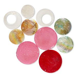 focal mix, capiz shell (dyed / coated), mixed colors, 38-65mm round and round go-go, mohs hardness 3-1/2. sold per pkg of 10.