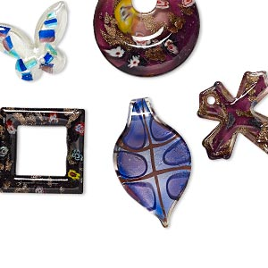 focal mix, lampworked and millefiori glass, mixed colors, 41x32mm-61x51mm mixed shape. sold per pkg of 5.
