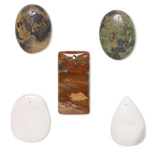 focal mix, multi-gemstone (natural), 28x18mm-39x24mm mixed shape with flat back, c grade, mohs hardness 3 to 7. sold per pkg of 5.