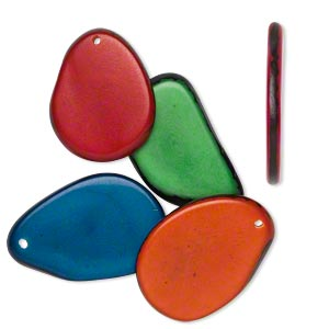 focal mix, tagua nut (dyed), mixed colors, 33x26mm-40x30mm flat teardrop. sold per pkg of 5.