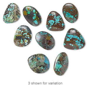 focal mix, turquoise (dyed / stabilized), 30x24mm-65x45mm freeform, c grade, mohs hardness 5 to 6. sold per pkg of 3.