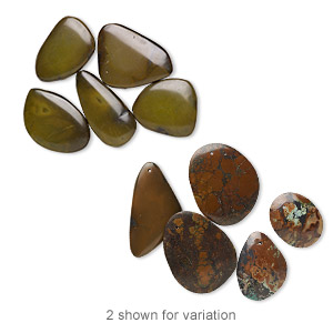 focal mix, turquoise (dyed / stabilized), brown, 36x23mm-52x42mm freeform, mohs hardness 5 to 6. sold per pkg of 5.