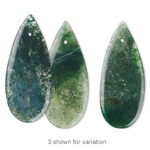 focal, moss agate (natural), 46x20x4mm flat teardrop, b grade, mohs hardness 6-1/2 to 7. sold individually.