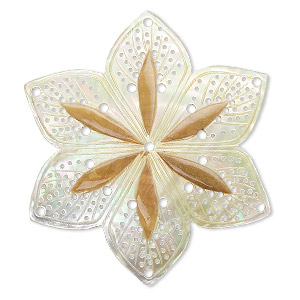 focal, mother-of-pearl shell (natural), 55mm carved flower with cutouts, mohs hardness 3-1/2. sold individually.