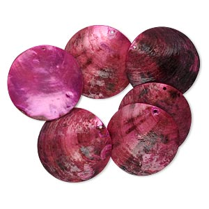 focal, mussel shell (dyed / coated), fuchsia, 40mm flat round. sold per pkg of 6.