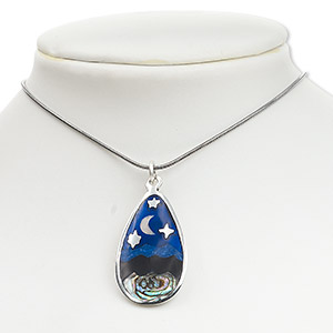 focal, pacific blue abalone shell (natural) / enamel / pewter (tin-based alloy), multicolored, 35x20mm teardrop with moon and stars. sold individually.