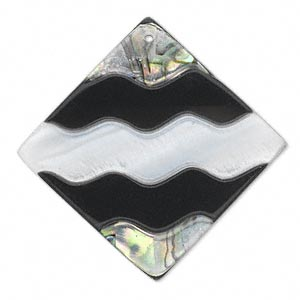 focal, paua and freshwater pearl shell and resin (assembled), white, 45x45mm single-sided wavy diamond. sold individually.