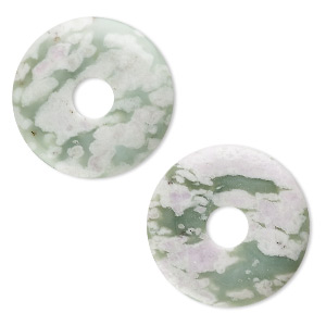 focal, peace jade (natural), 40mm round donut, b grade, mohs hardness 6 to 6-1/2. sold per pkg of 2.